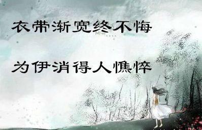 """""""衣带渐宽终不悔,为伊消得人憔悴""""是什么意思?"""
